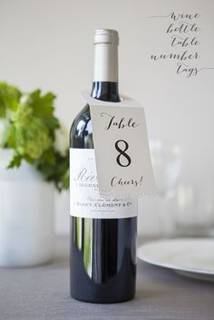 """DIY Wedding // Make these lovely """"wine bottle table number hang tags"""" for your wine or vineyard themed wedding!"""