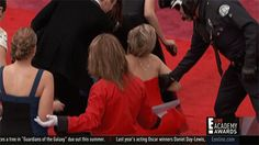 "Jennifer Lawrence is keeping up her particular Oscar custom of tumbling down. Yes, for the second straight year, the performing artist took a digger at the Academy Awards, this time tripping up on celebrity lane. Lawrence didn't accuse her red Dior outfit or her heels for the latest tumble, which occurred simply after she landed at the Dolby Theatre on Sunday. ""I completed trek over a cone,"" she said. ""I'm not sheltered."" After recuperating Yahoo Movies made up for lost time to her."