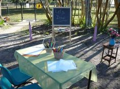 inviting outdoor play space for drawing