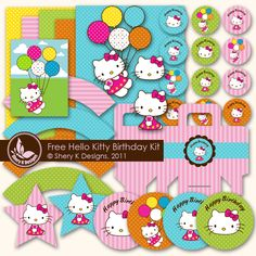 Free SVG and Printable Hello Kitty Entire Birthday Party Kit: cupcake wrappers, treat boxes, cupcake toppers, stickers, hello kitty wall decor, banner SVG FILE  PASSWORD: Shery K Designs!