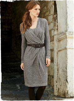 A universally flattering silhouette, our faux-wrap dress is a dream to wear in a feather-weight yet rustic mineral-hued knit from Italy. Styled with a pleated crossover v-neck and defined waist seam that releases into a deep inverted pleat; lined through the bodice. Cotton (62%) and viscose (38%).