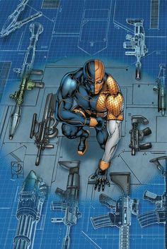 Shop for Deathstroke (Variant Cover) from DC Comics - written by Christopher Priest. Comic book hits store shelves on October 2016 Dc Deathstroke, Deathstroke The Terminator, Deadshot, Marvel Comics, Arte Dc Comics, Comic Book Covers, Comic Books Art, Comic Art, Final Fantasy