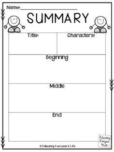 Writing A Summary {Free Graphic Organizer} by Educating Everyone 4 Life Reading Worksheets, Reading Resources, Reading Strategies, Homeschool Worksheets, Homeschooling, Graphic Organizer For Reading, Graphic Organizers, Reading Response, Reading Intervention