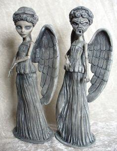 Two Monster High customs - Weeping Angels By redmermaidwerewolf