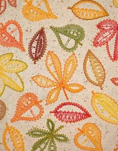 Embroidery Project 13 gallery - FSL bobbin-lace look autmn leaves Cute Embroidery, Hand Embroidery Stitches, Machine Embroidery Designs, Bobbin Lacemaking, Card Weaving, Bobbin Lace Patterns, Point Lace, Lace Making, Lace Flowers