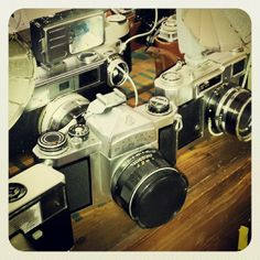 Via Instagram by @the_chey_pie Vintage cameras at I Heart Market