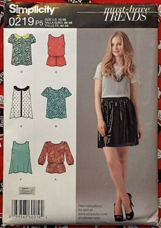 Misses Top Sewing Pattern - Plus Size Tops Sizes 12-20 Must Have Trends 1693 #patterns4you