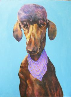 This is a painting I finished last month. It is a large one for me, being 3 by 4 feet in size. It was done on a gallery wrapped canvas so no frame is necessary. I call him Scarfy. He is so large that his ears look like tired wings.