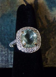 14K Solid Yellow Gold Green Amethyst & Diamond Ring- size 6-7 Appraisal. $4718. #EngagementAnniversaryBirthday