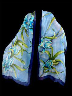 Hand painted silk scarf  Blue Iris