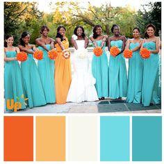 Paleta laranja e azul celeste