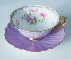 Vintage Lilac Purple Shelley Tea Cup and Saucer Set - Lavender Teacup Set - Purple Shelley Oleander Cup and Saucer. $92.00, via Etsy.