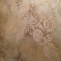 Embossed stencil with foil with Modern masters Metallic Plasters and glaze