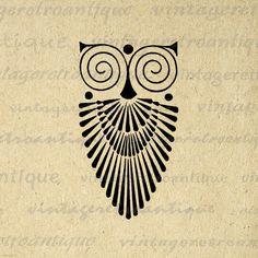 Art Deco Owl Image Graphic Download Bird by VintageRetroAntique