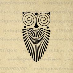 Art Deco Owl Image Graphic Download Bird Digital Printable Illustration Vintage…