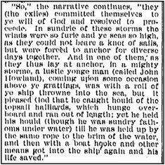 Man Overboard! Read Mayflower Pilgrim John Howland's Survival Story: http://blog.genealogybank.com/man-overboard-mayflower-pilgrim-john-howlands-story.html?s_referrer=social&s_siteloc=pinterest&s_trackval=1411_14
