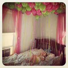 Surprise with balloons on birthday when waking up.