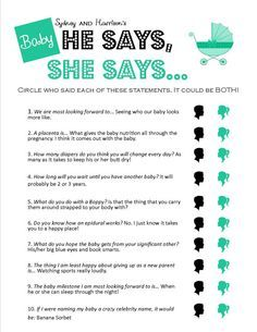 He Says She Says Unique Printable Baby Shower By Littlegandme Baby Shower  Games For Girls
