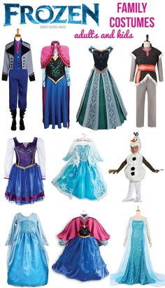 Frozen Costumes for the Family. Great for a party, ideas for crafts, or Halloween costume ideas!