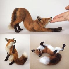 Needle felted fox sculptures