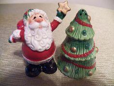 FF Fitz & Floyd Santa & Christmas Tree Salt and Pepper Shakers