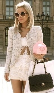 """Yes! It is possible to look this glamorous while picking up Laduree macaroon from your local department store. This lace on lace look can look frightening if the proportions aren't right? But this little outfit with the playful shorts and John Lennon sunnies ensures that...""""Style is what happens when you're busy making other plans!"""" x"""