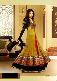 USD 97.92 Nargis Fakhri Yellow Net Designer Anarkali Salwar Kameez   33861