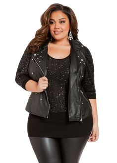 Studded Faux Leather Vest - Ashley Stewart