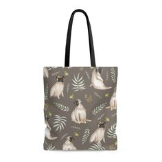 Our leafy pug design is a unique watercolor pattern featuring an adorable pug, butterflies and tropical leafs. This tote bag is perfect for shopping, the beach Pug Accessories, Watercolor Pattern, Blue Bags, Pugs, Reusable Tote Bags, Tropical, Butterfly, Brown, Shopping