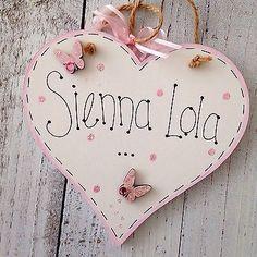 Handmade Personalised Heart Name Plaque Keepsake Gift Baby Girl Boy Christening