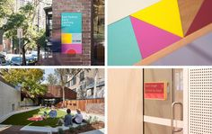 australian studio design by toko has installed colorful and modular timber signs throughout the east sydney early learning center for children. Wayfinding Signage, Signage Design, Learning Centers, Early Learning, Visual Merchandising, Branding, Intelligent Design, Environmental Design, Environmental Graphics
