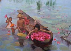 คลังรูป ภ.ภาพวาด: วิถีชีวิตชาวบ้าน Village Scene Drawing, Composition Drawing, Watercolor Art Landscape, Thai Art, Drawings, Holiday, Nature, Painting, Character
