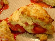 Molly Wizenberg's recipe for Scottish scones.      I made mine with buttermilk rather than regular, about 1 cup frozen strawberries, some almond extract, and some cinnamon.  Excellent!
