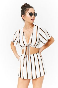 Product Name:Striped Tie-Front Crop Top, Category:top_blouses, Price:19.9