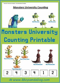 Counting with Monsters University #Printables  #MonstersU