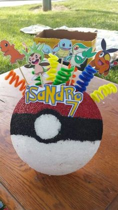 My Son's DIY Pokemon centerpieces for his birthday party