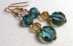 Czech glass blue and topaz crystal earrings