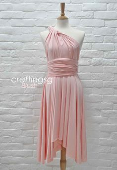Bridesmaid Dress Infinity Dress Blush Knee Length by craftingsg, $35.00