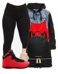 """""""Just pop a couple bandz with a guy like me"""" by mindlesspolyvore ❤ liked on Polyvore featuring H&M, Mura, Betsey Johnson, MICHAEL Michael Kors, Michael Kors and NIKE"""
