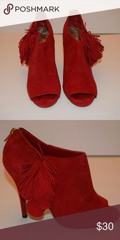Red Suede Booties High Heeled Red Suede Booties with Suede Feather Accent Shoes Ankle Boots & Booties