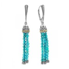 Turquoise gemstone tassel drop earrings with 18k gold Caviar beading. Finished with a lever back closure.