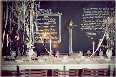 Like this! - chalk reception wall | CHECK OUT MORE GREAT BLACK AND WHITE WEDDING IDEAS AT WEDDINGPINS.NET | #weddings #wedding #blackandwhitewedding #blackandwhiteweddingphotos #events #forweddings #iloveweddings #blackandwhite #romance #vintage #blackwedding #planners #whitewedding #ceremonyphotos #weddingphotos #weddingpictures