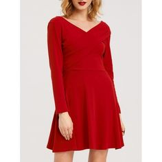 18.58$  Buy here - http://diq0z.justgood.pw/go.php?t=204187703 - High Waist V Neck Swing Dress 18.58$
