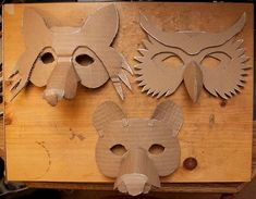 Simple Masks (Fox Owl & Bear 2019 Here is the collection of animals together now its time to mache them and put sticks on them. Please listen to this song while view these photos. The post Simple Masks (Fox Owl & Bear 2019 appeared first on Paper ideas. Paper Mache Mask, Paper Mask, Projects For Kids, Diy For Kids, Art Projects, Mascara Papel Mache, Cardboard Mask, Cardboard Animals, Paper Mache Animals