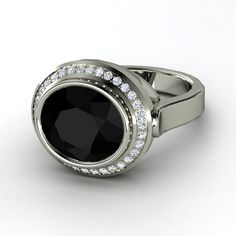 Oval Black Onyx 14K White Gold Ring with Diamond | Racetrack Ring | Gemvara