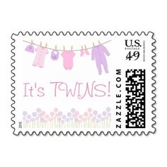 It's Twins! Baby Clothesline Baby Shower Postage Stamps