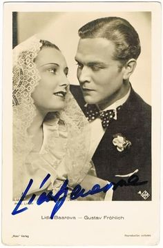 Lida Baarova autograph on photo Fritz Lang, Cinema, Time Travel, Old Photos, 1930s, Vip, Celebrity, History, Retro