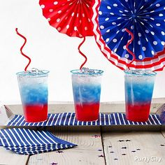 Dress up your drinks for kids (of all ages!). The best party drinks are as much about the presentation as the ingredients! Pour some red, white and blue stripes by starting with pomegranate juice, cranberry juice or red Italian soda, then adding blue Gatorade and club soda or lemon-lime soda.