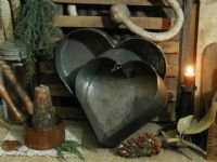 Old Heart Shaped Metal Cake Pans...and grubby candles.