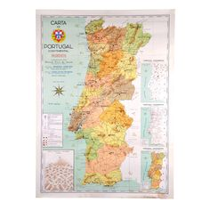 This vintage map of Portugal (1967 edition) presents, in the left edge, a legend of the main Portuguese historical battles, joined by a graph representing the Portuguese mountains and heights. On the right edge are represented three small maps showing the rivers and mountains, routes, as well as the old division of the country.  http://ow.ly/KeWSw